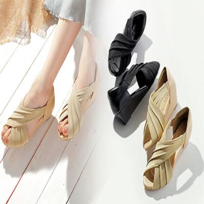 【選べる3サイズ/2色展開】外反母趾などで痛みが気になる足にもやさしくフィット。脚をすらりときれいに魅せる、クロスドレープ仕様の機能性サンダル《美歩人エレガンスサンダル》